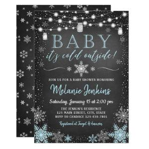 Boy Baby It's Cold Outside Baby Shower Invitation
