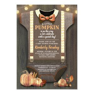Boy Baby Shower Fall Pumpkin Rustic Burlap Wood Invitation