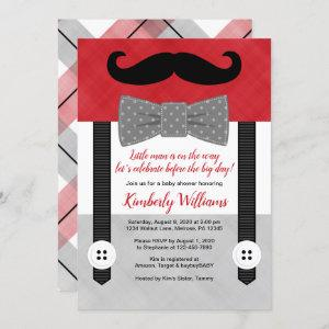 boy baby shower invitation little man red gray