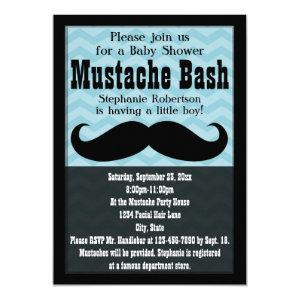 Boy Baby Shower Vintage Blue Mustache Bash Invitation