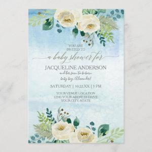 Boy Baby Shower Watercolor Blue White Rose Floral