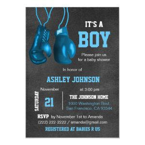 Boy Boxing Gloves Blue Baby Shower Invitations