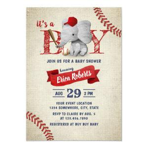 Boy Cute Elephant Baseball Baby Shower Invitation