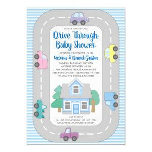 Boy Drive Through Baby Shower Invitation