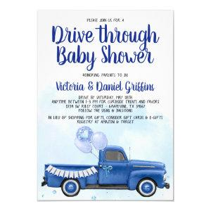 Boy Drive Through Baby Shower Truck Invitation
