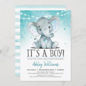 Boy Elephant Baby Shower Invitation