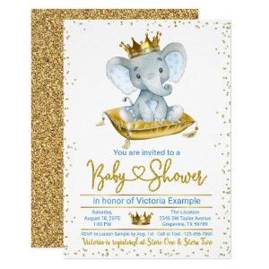 Boy Elephant Prince Baby Shower Invitation