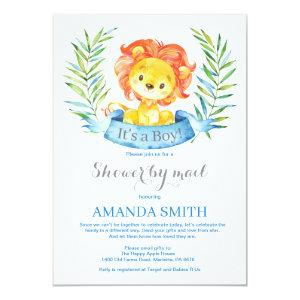 Boy Lion Baby Shower by Mail Invitation
