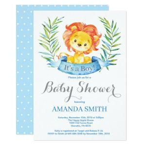 Boy Lion Baby Shower Invitation Blue and Gray