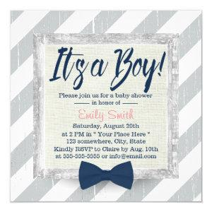 Boy Navy Blue Bow Tie Grey Stripes Baby Shower Invitation