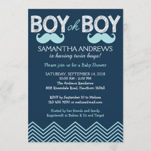 Boy Oh Boy Invitation, Twins Baby Shower Invite