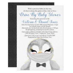 Boy Penguin with Mask Drive By Baby Shower Invitation