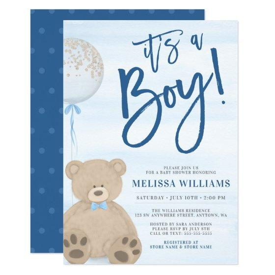 Boy Teddy Bear Blue Balloon Baby Shower Invitation
