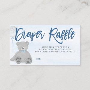 Boy Teddy Bear Gray Balloon Diaper Raffle Ticket Enclosure Card