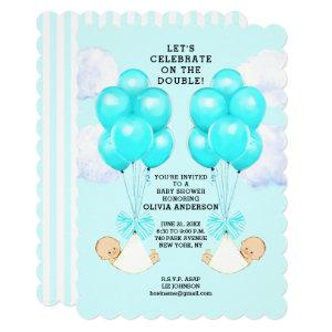 boy twins baby shower invitation