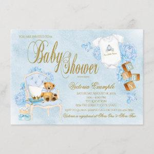 Boy Watercolor Baby Blue Gold Baby Shower