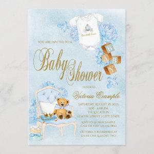 Boy Watercolor Baby Shower Blue Gold Baby