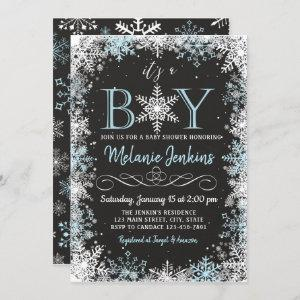 Boy Winter Snowflake Baby Shower Invitation