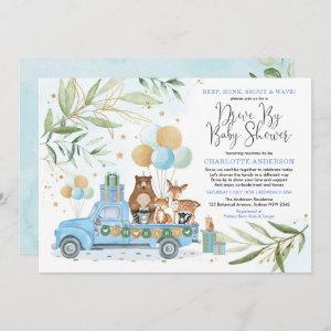 Boy Woodland Forest Drive By Baby Shower Parade Invitation