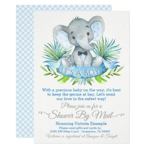Boys Baby Elephant Baby Shower By Mail Drive By Invitation