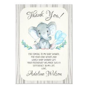 Boys Elephant Baby Shower Thank You Card