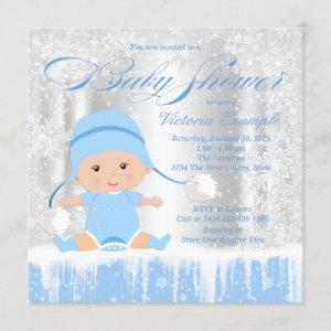 Boys Winter Wonderland Snow Baby Shower Invitation