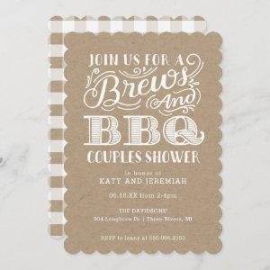 Brews and BBQ Couples Shower on Kraft Invitation