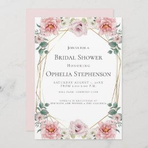 BRIDAL SHOWER | Watercolor Baby Rosa Pink Flowers Invitation