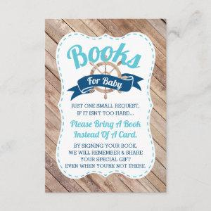 Bring A Book Card, Ahoy, Nautical, Baby Shower Enclosure Card