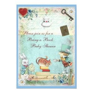 Bring a Book Mad Hatter & Cheshire Cat Baby Shower Invitation