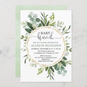 Brunch baby shower, Eucalyptus gender neutral Invitation