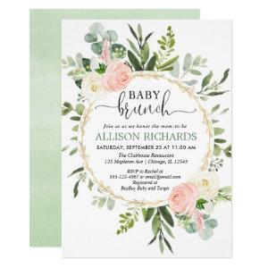 Brunch baby shower girl, Eucalyptus pink gold Invitation