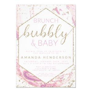 Brunch Bubbly & Baby Marble Baby Shower Invitation