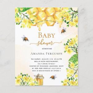 Budget Bee Baby shower yellow floral invitation