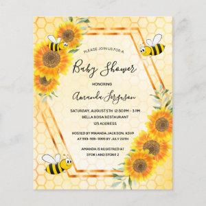 BUDGET bumble bee sunflowers baby shower