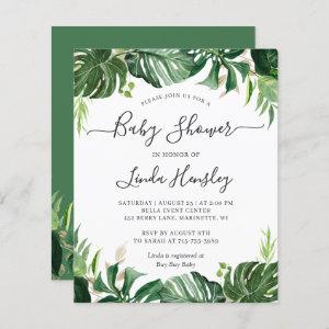 Budget Greenery Tropical Baby Shower Invitations