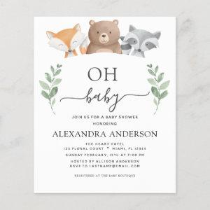 Budget Oh Baby Shower Woodland Invitations