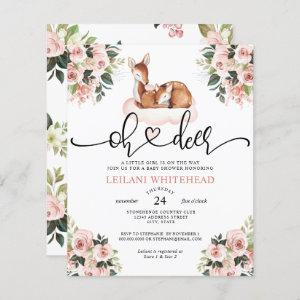 Budget Oh Deer Watercolor Baby Shower Invitation