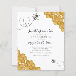 Budget Sweet as Can Bee Baby Shower Invitation