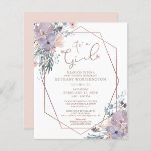 Budget Watercolor Floral Rose Gold Baby Shower