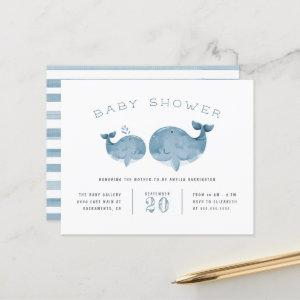 Budget Watercolor Whale Boy's Blue Baby Shower