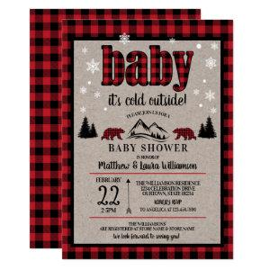 Buffalo Check Baby it's Cold Outside Baby Shower Invitation