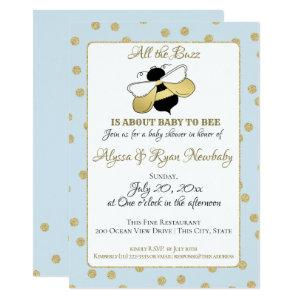 Bumble Bee Buzz Baby Shower Blue Invitation