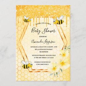 Bumble bee glitter drips gold florals baby shower invitation