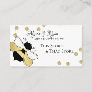 Bumble Bee Gold Confetti Baby Shower Registry Enclosure Card