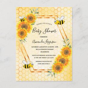 Bumble bee honeycomb floral baby shower invitation postcard