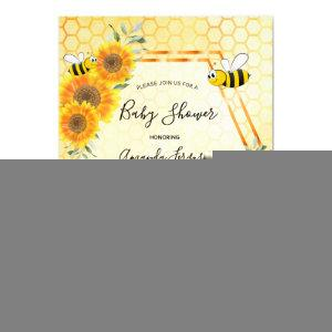Bumble bee honeycomb sunflowers baby shower invitation