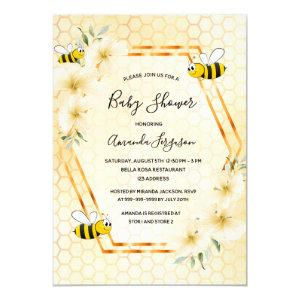 Bumble bee honeycomb tropical florals baby shower invitation