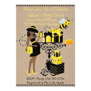 Bumble Bee Lady Yellow African Baby Shower Invite