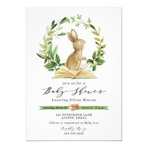 Bunny Book Themed Baby Shower Invitation Greenery